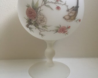 Vintage Frosted Glass Candy Bowl Birds Flowers Goblet