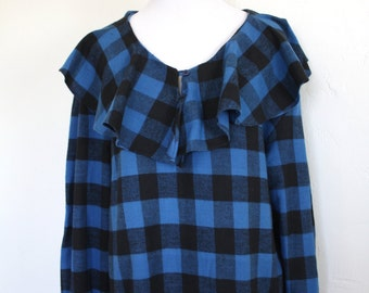 Early 90's Plaid Flannel Ruffled Neck Button Up Blouse