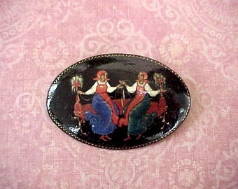 Lovely Vintage Hand Painted Russian Brooch with Charming Folk Scene