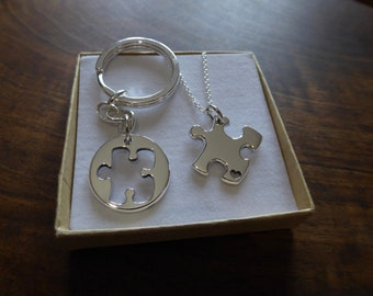 Best Friend Puzzle Pendant and Heart Keyring