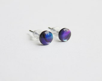 Small 5mm round purple abalone paua shell surgical steel stud earrings