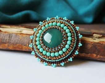Turquoise Copper Brooch Green Agate Brooch Embroidery Brooch Cabochon Brooch Beadwork Brooch Ethnic Tribal Jewelry Fall Fashion Gift for her