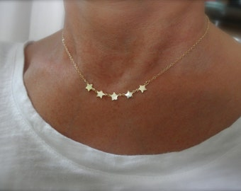 multi gold  star  necklace - 14K gold-filled chain  - gold star necklace - chain necklace - teeny tiny star - dainty jewelry