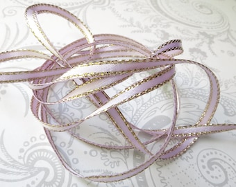 Gold Edged Lilac Satin Ribbon 1/8 inch -- 3 yards -- Pastel Lavender -- 3mm -- Double Faced