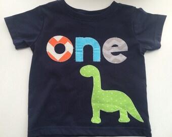 Dinosaur First Birthday Shirt Boys Shirt One white blue gift photo prop modern