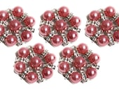 Metal Rhinestone Buttons - Pearl STAR button - 20mm - set of  FIVE - Pink pearl