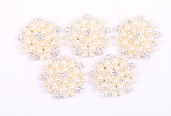 Pearl and Rhinestone Buttons, metal - Pearl Cluster Button - 20mm SET OF FIVE - white