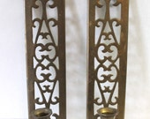 Vintage Brass Candle Wall Sconces Filigree Cutwork