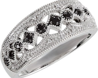 925 Sterling Silver Black Spinel Ring Size 6
