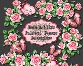 4 digital 300 dpi painted rose clusters png images scrapbooking pink roses clipart DIY arts and crafts (0918