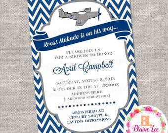 Airplane Baby Shower Invitation- Digital File