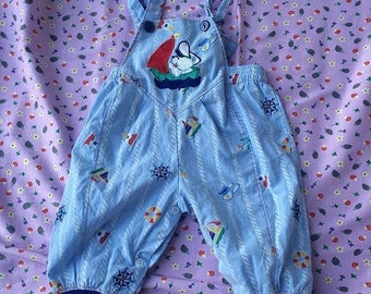 Vintage teddy bear sailing overalls 6-12 months