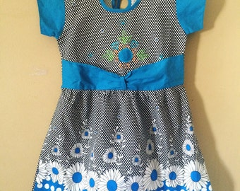 Blue and Black Floral Dress Girls Size 6x