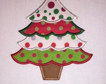 Toddler Christmas Tree  Applique Customizable Name White Long Sleeve Shirt