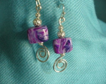 Earrings, Purple Handmade Beads, Coiled Wire