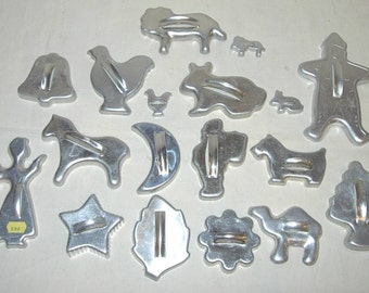 18 Vintage Aluminum Cookie Cutters Lion-Rabbit-Angel-Horse-Scotty Dog +more