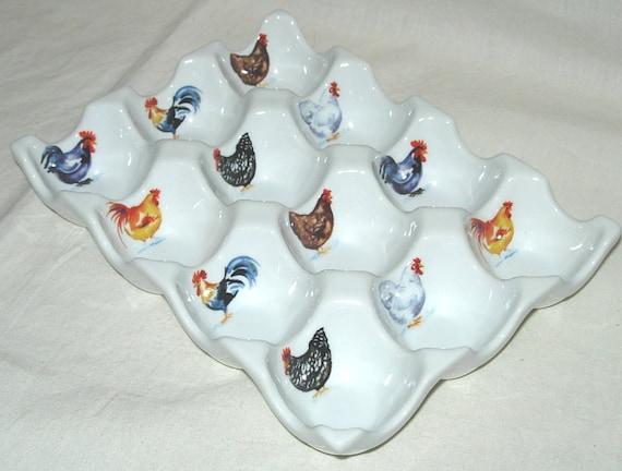 White Porcelain 12 Egg Tray Holder Chickens Motif M P Samie