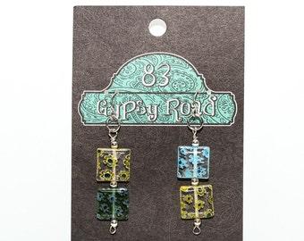 E094K - Stacked Millefiori glass square earrings