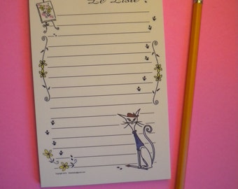 Le Liste / The List / TO DO notepad note paper pad padded cute French art Cat kitten grocery groceries memo 4 x 6  inches