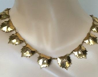 Vintage Art Nouveau Brass Necklace, Brass Leaf Necklace, Gold Leaf Necklace