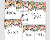 Floral Bridal Shower Table Signs - Printable Floral Bridal Shower Decorations - Welcome Signs - White Floral  0001W