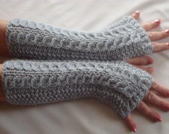 Fingerless Gloves Mittens Knit Silver Alpaca Cable Arm/Wrist  Warmers Silver,Long  Fingerless Gloves WinterSilver Women's Gift.