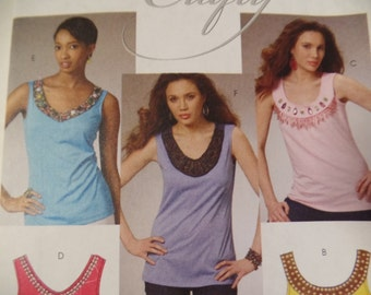 McCalls 6077 Ladies Sleeveless Shirts Sewing Pattern - Size 14 16 18 20