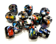 VINTAGE: 8 LARGE Old Trade Glass  Beads - Large Hole Beads - Macramé Beads - (11-C5-00004951)