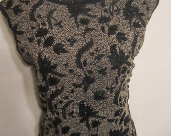 Beaded Black and Gold Evening Top