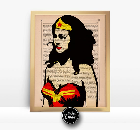 The Amazing Wonder Woman Original Pop Art by Prudence Print on Unframed Upcycled Bookpage