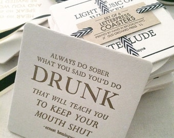 Letterpress Coasters - Set of 6 - Literary Quotes