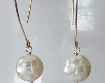 Mother of Pearl Mosaic Earrings with Long Earwires