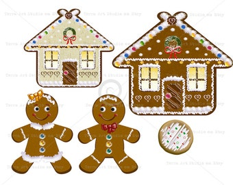 Gingerbread House, gingerbread couple set, digital graphic instant download clipart scrapbooking crafts glitter frosting glaze christmas