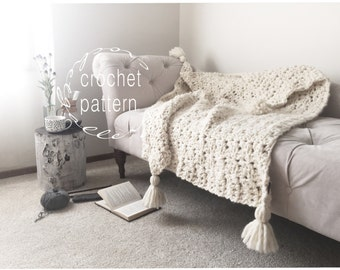 CROCHET PATTERN Chunky Blanket Throw Afghan Pattern / Photo Tutorial The SUMMIT Blanket