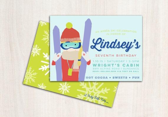 Ski Girl Party Invitation - Snow Skier Party  - Apres Ski - Printable Party Supplies