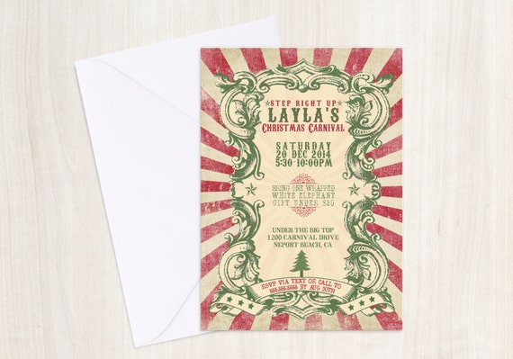 Vintage Christmas Carnival Invitation - Christmas Party Invite - Vintage Christmas Poster
