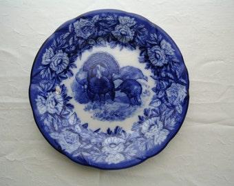 Vintage Villeroy Boch Dresden Germany Flow Blue Turkey Dinner Plate