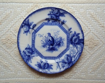 Royal Doulton flow blue plate with pheasants and pomegranates