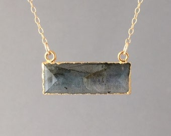 Rectangle Labradorite Stone Bezel Set Gold Necklace
