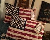 Custom listing for Anita- Two Medium Sized ~Prim Patriotic Flag Pillow Tuck- Americana Decor- July Fourth