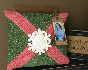 Primitive Merry Christmas Snowflake Pillow- Santa-Vintage Quilts- Christmas decor~ Seasons Greetings- Rustic Decor- Vintage Christmas
