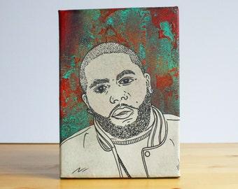 Killer Mike Collage Canvas - Original Artwork Spraypaint/Pen and Ink