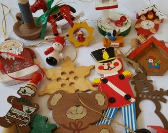 Vintage Wood Ornament Set Wooden Christmas Tree Ornaments Norwegian Miniature  Angel
