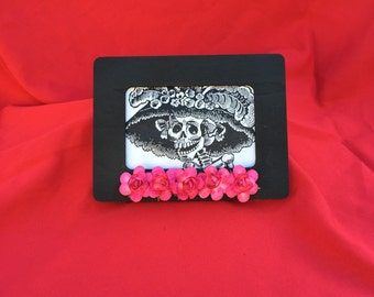 Day Of The Dead Catrina Framed Picture With Pink Roses