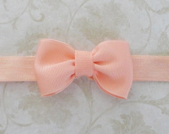 Small Light Coral Bow Headband, Peach Newborn Bow Headband, Baby Grosgrain Ribbon Bow Headband, Tiny Bowtie Headband, Petite Bow Headband