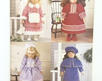 "UNCUT Butterick 5864 18"" Doll Clothes Coat Hat Skirt Muff Dress Petticoat Pantaloons Spats"