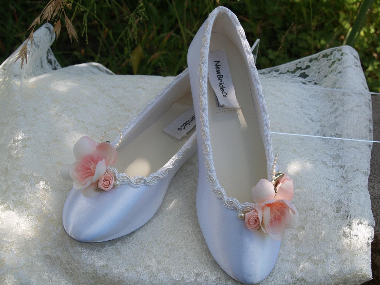 Blush Pink Wedding Flats Satin Shoes Pink Bridal by NewBrideCo