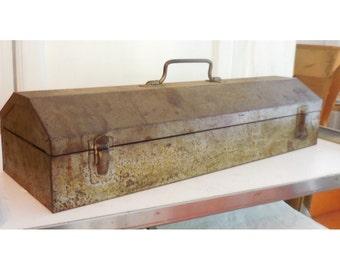 "20"" Rusted Metal Toolbox Long Narrow Angled Lid Handled Tray STEAMPUNK!"