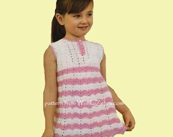 Vintage Crochet Pattern girls ripple zigzag dress PDF B121 from WonkyZebra