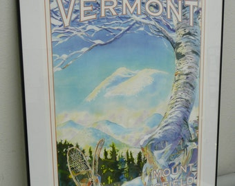 Set of (4) Four Kevin Ruelle Retro Style Vermont Travel Posters. One Signed by Artist